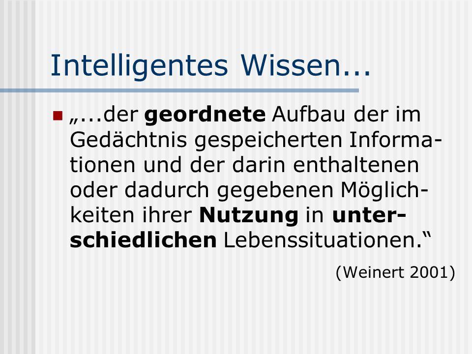Intelligentes Wissen......der geordnete Aufbau der im Gedächtnis gespeicherten Informa- tionen und der darin enthaltenen oder dadurch gegebenen Möglic
