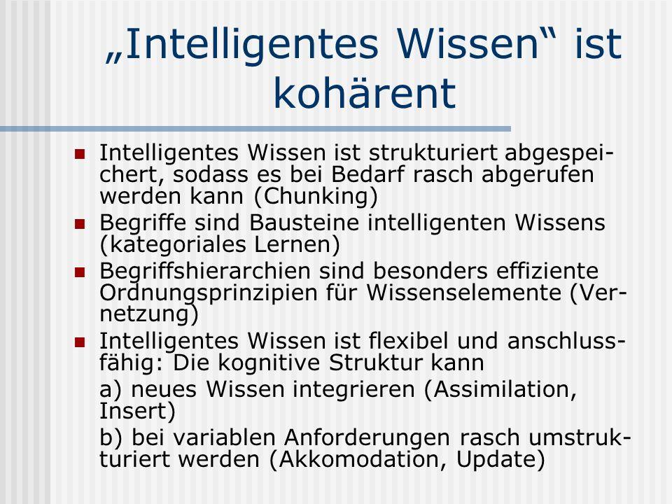 Intelligentes Wissen ist kohärent Intelligentes Wissen ist strukturiert abgespei- chert, sodass es bei Bedarf rasch abgerufen werden kann (Chunking) B