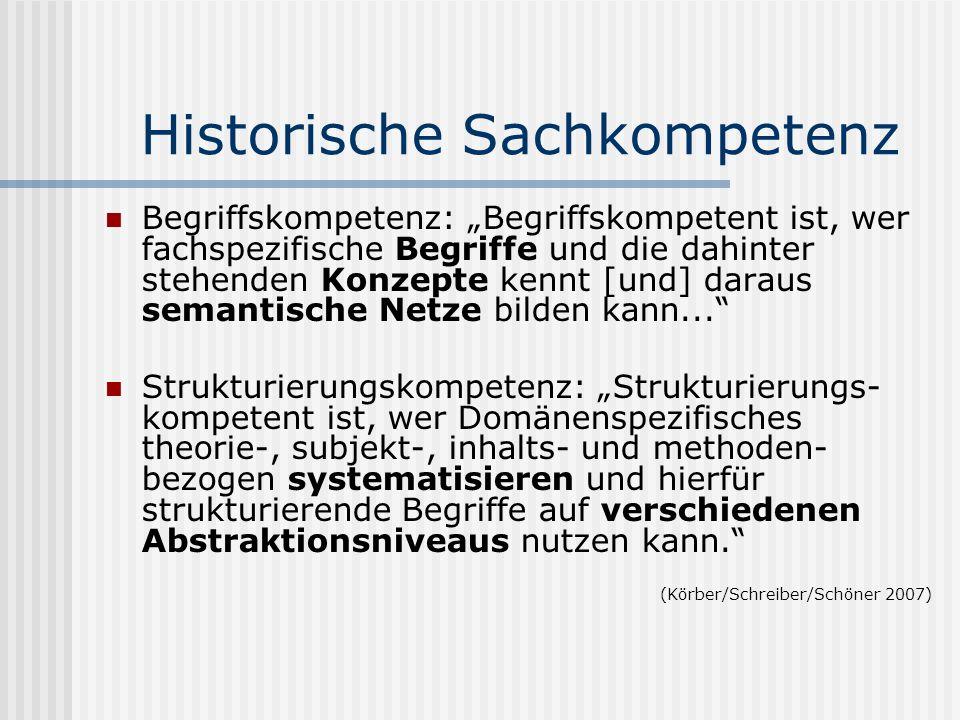 Historische Sachkompetenz Begriffskompetenz: Begriffskompetent ist, wer fachspezifische Begriffe und die dahinter stehenden Konzepte kennt [und] darau