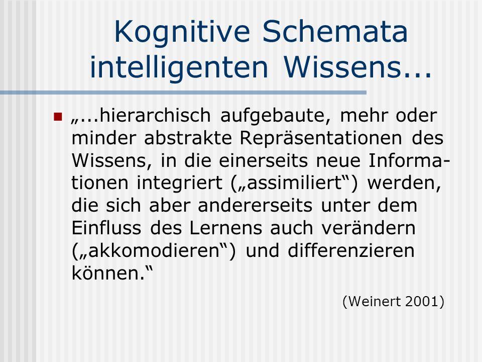Kognitive Schemata intelligenten Wissens......hierarchisch aufgebaute, mehr oder minder abstrakte Repräsentationen des Wissens, in die einerseits neue