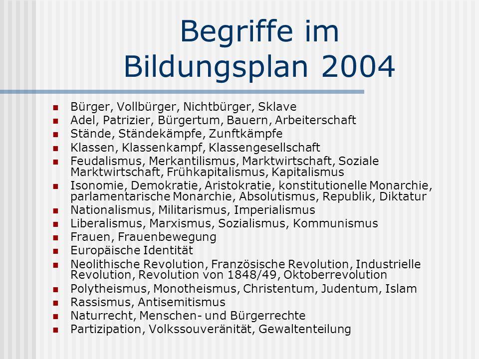 Begriffe im Bildungsplan 2004 Bürger, Vollbürger, Nichtbürger, Sklave Adel, Patrizier, Bürgertum, Bauern, Arbeiterschaft Stände, Ständekämpfe, Zunftkä