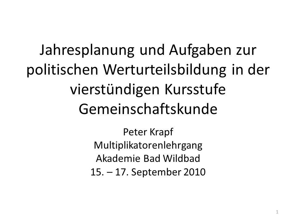 Jahresplanung und Aufgaben zur politischen Werturteilsbildung in der vierstündigen Kursstufe Gemeinschaftskunde Peter Krapf Multiplikatorenlehrgang Ak
