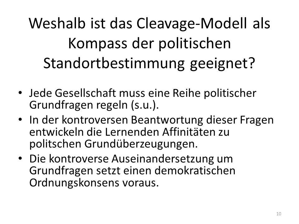 Weshalb ist das Cleavage-Modell als Kompass der politischen Standortbestimmung geeignet? Jede Gesellschaft muss eine Reihe politischer Grundfragen reg