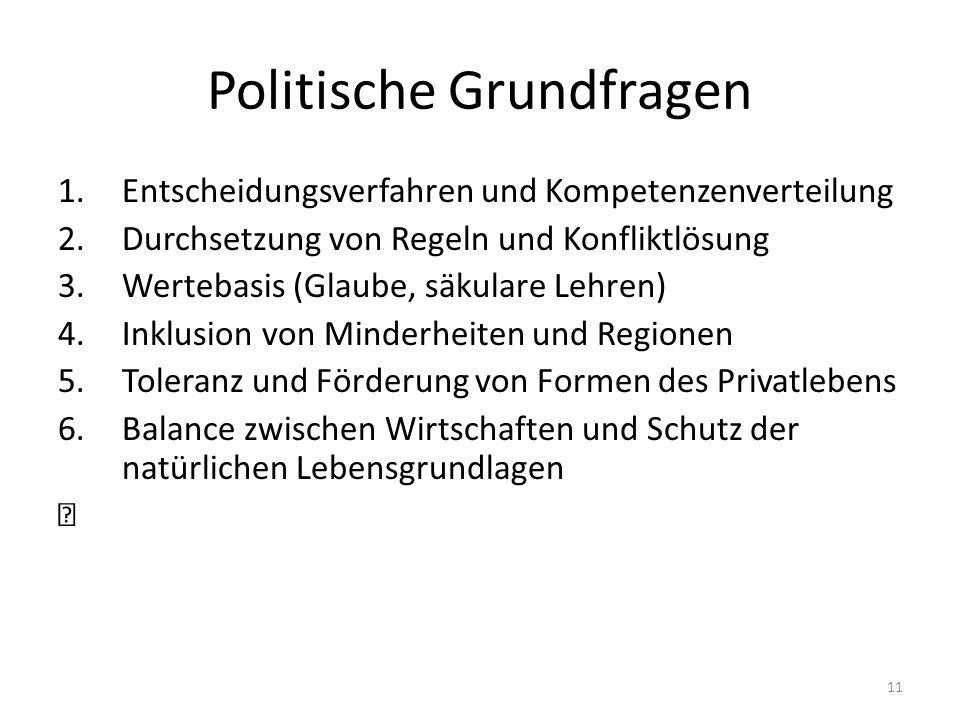 Politische Grundfragen 1.Entscheidungsverfahren und Kompetenzenverteilung 2.Durchsetzung von Regeln und Konfliktlösung 3.Wertebasis (Glaube, säkulare