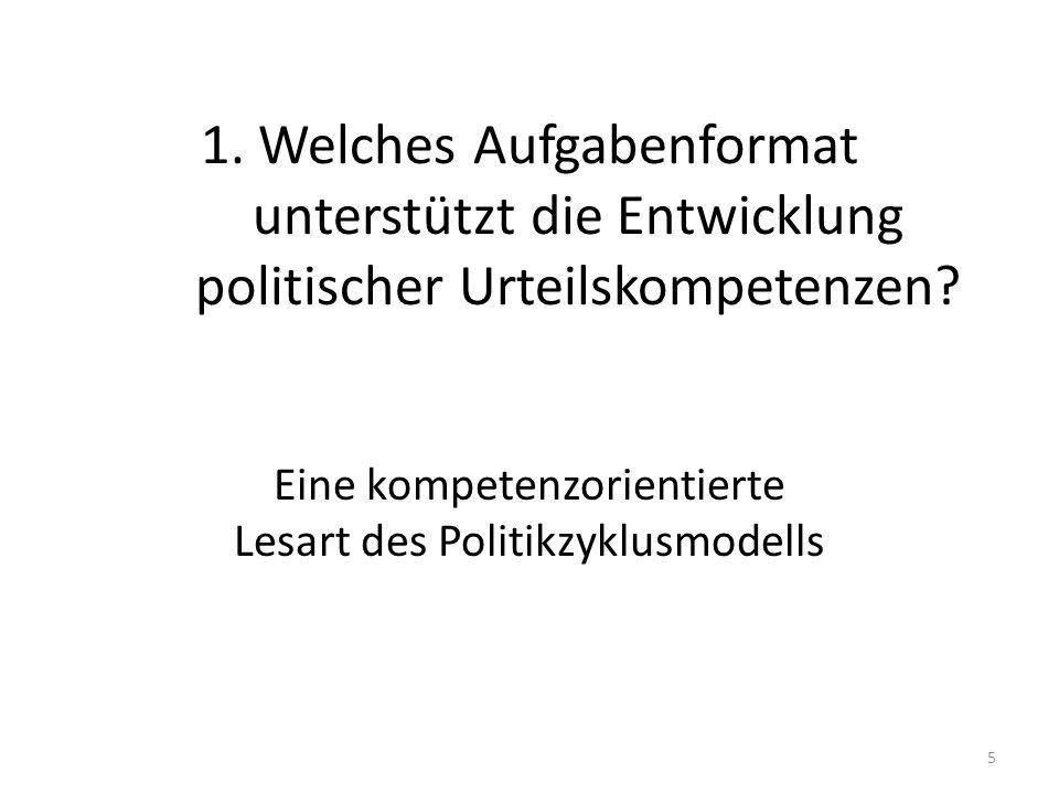 1. Welches Aufgabenformat unterstützt die Entwicklung politischer Urteilskompetenzen? Eine kompetenzorientierte Lesart des Politikzyklusmodells 5
