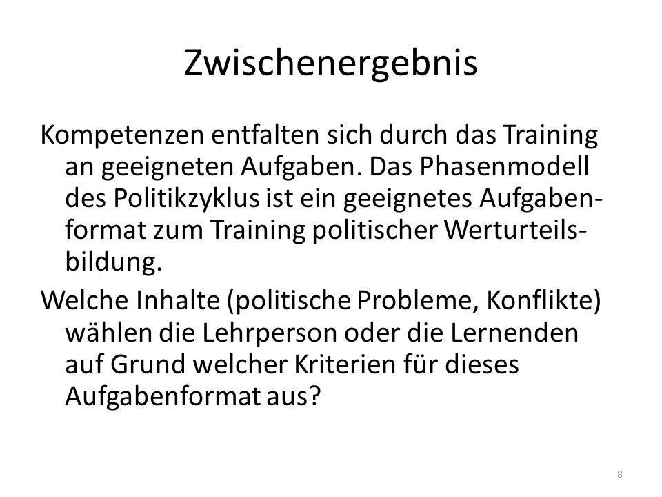 Zwischenergebnis Kompetenzen entfalten sich durch das Training an geeigneten Aufgaben. Das Phasenmodell des Politikzyklus ist ein geeignetes Aufgaben-