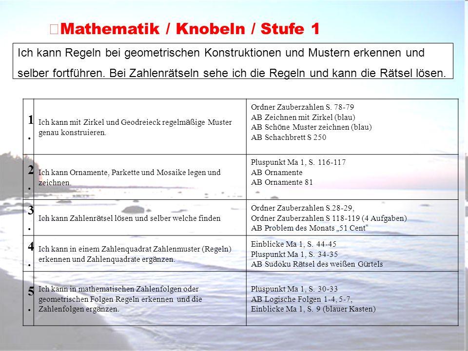 Mathematik / Knobeln / Stufe 1 Ich kann Regeln bei geometrischen Konstruktionen und Mustern erkennen und selber fortführen. Bei Zahlenrätseln sehe ich