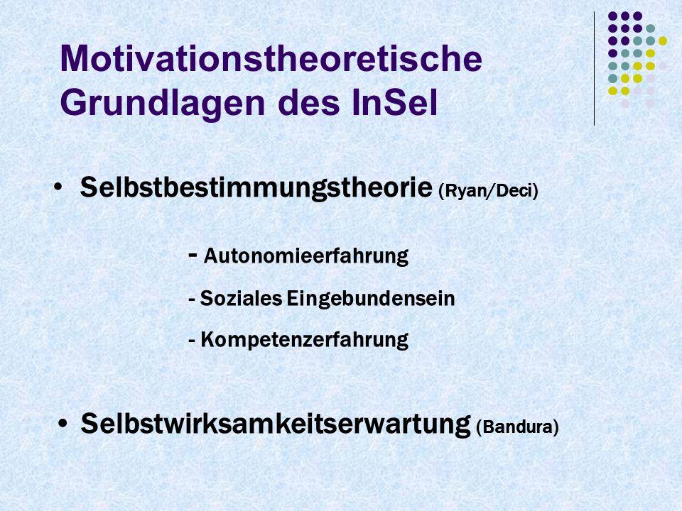 Motivationstheoretische Grundlagen des InSel Selbstbestimmungstheorie (Ryan/Deci) - Autonomieerfahrung - Soziales Eingebundensein - Kompetenzerfahrung