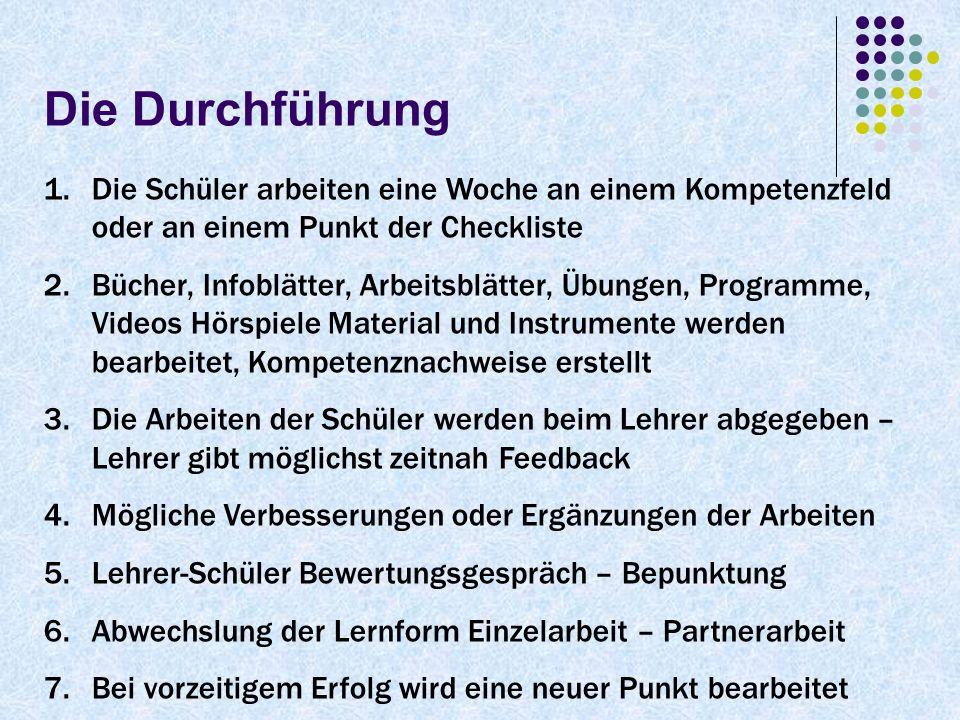 1.Die Schüler arbeiten eine Woche an einem Kompetenzfeld oder an einem Punkt der Checkliste 2.Bücher, Infoblätter, Arbeitsblätter, Übungen, Programme,