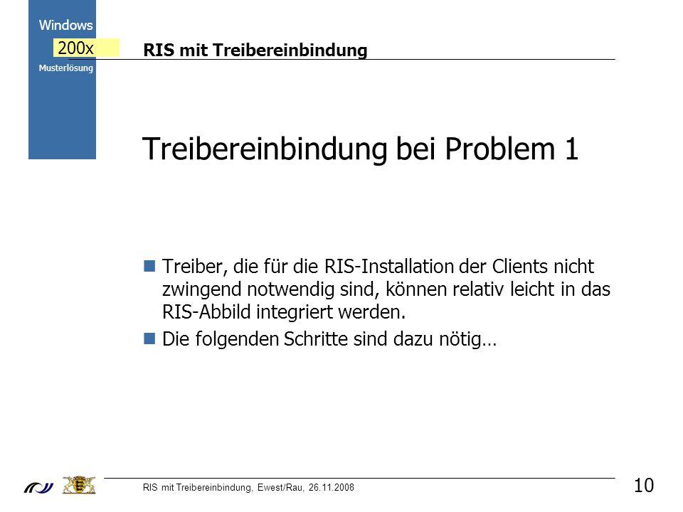 RIS mit Treibereinbindung RIS mit Treibereinbindung, Ewest/Rau, 26.11.2008 2000 Windows 200x Musterlösung 10 Treibereinbindung bei Problem 1 Treiber, die für die RIS-Installation der Clients nicht zwingend notwendig sind, können relativ leicht in das RIS-Abbild integriert werden.