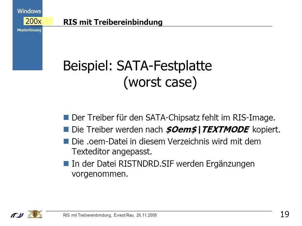RIS mit Treibereinbindung RIS mit Treibereinbindung, Ewest/Rau, 26.11.2008 2000 Windows 200x Musterlösung Beispiel: SATA-Festplatte (worst case) Der Treiber für den SATA-Chipsatz fehlt im RIS-Image.