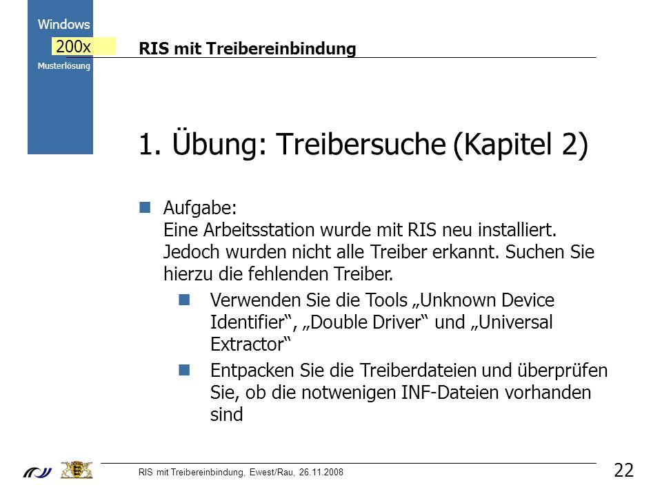 RIS mit Treibereinbindung RIS mit Treibereinbindung, Ewest/Rau, 26.11.2008 2000 Windows 200x Musterlösung 22 1.