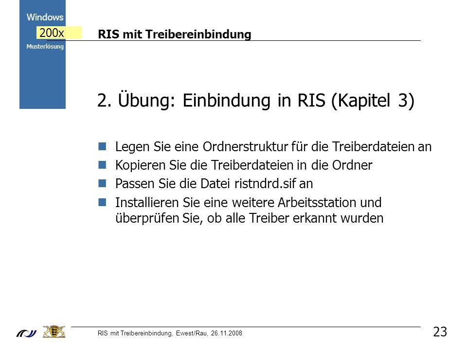 RIS mit Treibereinbindung RIS mit Treibereinbindung, Ewest/Rau, 26.11.2008 2000 Windows 200x Musterlösung 23 2.
