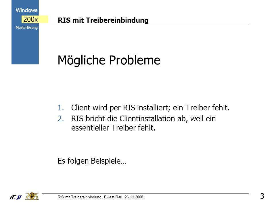RIS mit Treibereinbindung RIS mit Treibereinbindung, Ewest/Rau, 26.11.2008 2000 Windows 200x Musterlösung Mögliche Probleme 1.Client wird per RIS installiert; ein Treiber fehlt.