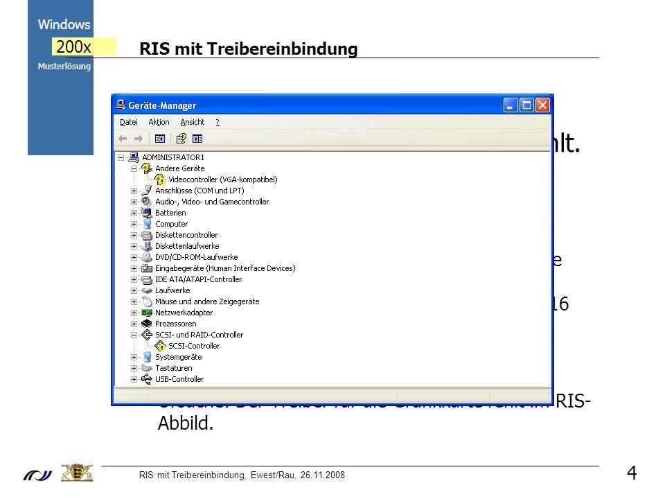 RIS mit Treibereinbindung RIS mit Treibereinbindung, Ewest/Rau, 26.11.2008 2000 Windows 200x Musterlösung 4 a) Der Treiber für die Grafikkarte fehlt.
