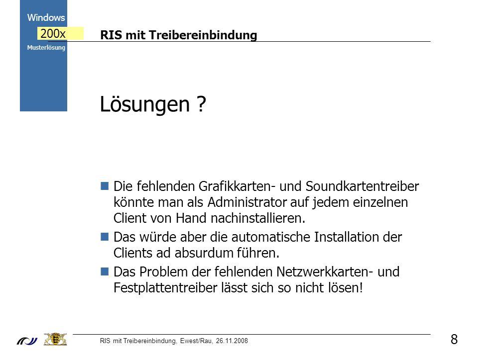 RIS mit Treibereinbindung RIS mit Treibereinbindung, Ewest/Rau, 26.11.2008 2000 Windows 200x Musterlösung 8 Lösungen .