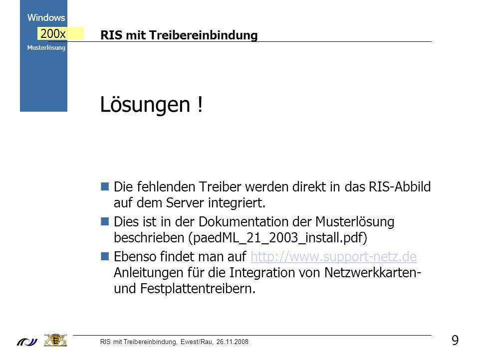 RIS mit Treibereinbindung RIS mit Treibereinbindung, Ewest/Rau, 26.11.2008 2000 Windows 200x Musterlösung 9 Lösungen .