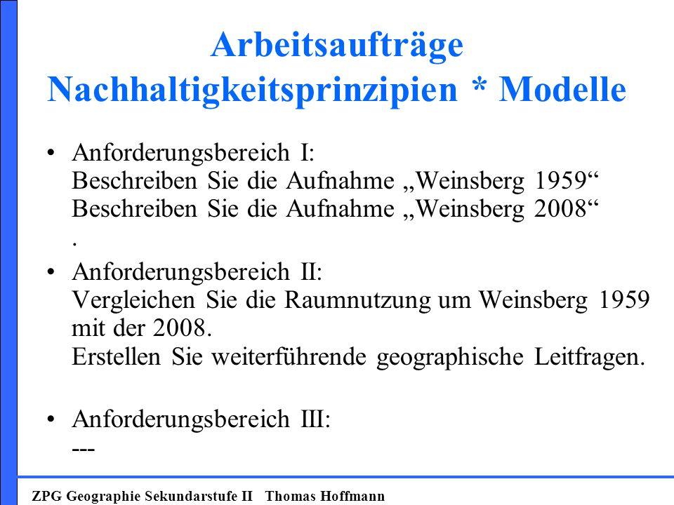 Arbeitsaufträge Nachhaltigkeitsprinzipien * Modelle Anforderungsbereich I: Beschreiben Sie die Aufnahme Weinsberg 1959 Beschreiben Sie die Aufnahme We