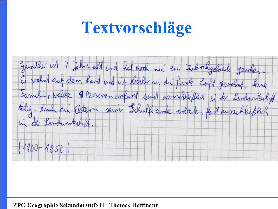 Textvorschläge ZPG Geographie Sekundarstufe II Thomas Hoffmann