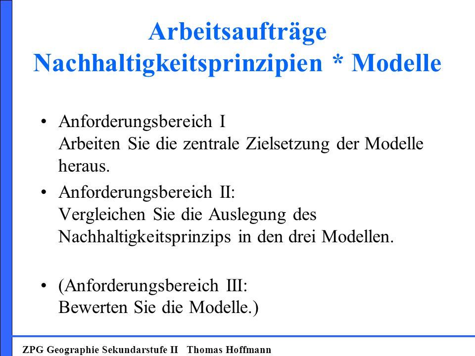 Arbeitsaufträge Nachhaltigkeitsprinzipien * Modelle Anforderungsbereich I Arbeiten Sie die zentrale Zielsetzung der Modelle heraus. Anforderungsbereic