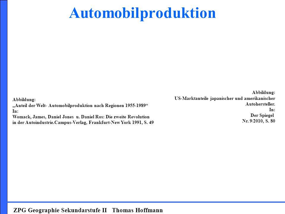 Automobilproduktion ZPG Geographie Sekundarstufe II Thomas Hoffmann Abbildung: US-Marktanteile japanischer und amerikanischer Autohersteller. In: Der