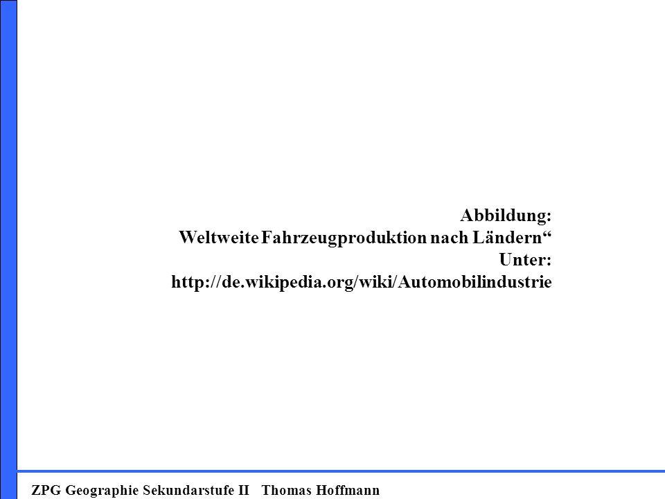 ZPG Geographie Sekundarstufe II Thomas Hoffmann Abbildung: Weltweite Fahrzeugproduktion nach Ländern Unter: http://de.wikipedia.org/wiki/Automobilindu