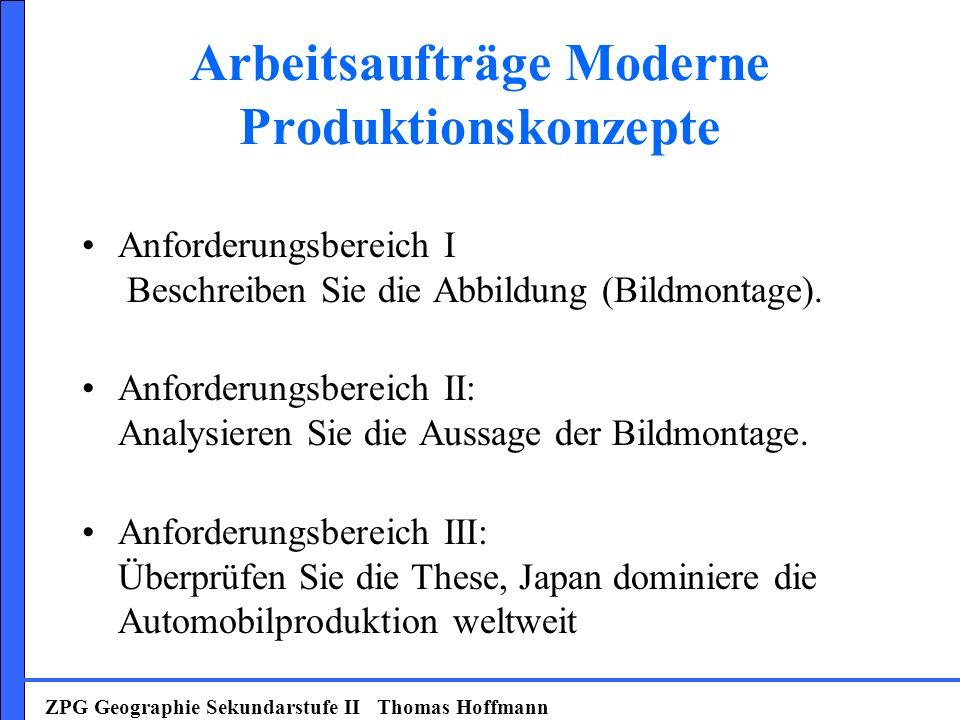 Arbeitsaufträge Moderne Produktionskonzepte Anforderungsbereich I Beschreiben Sie die Abbildung (Bildmontage). Anforderungsbereich II: Analysieren Sie