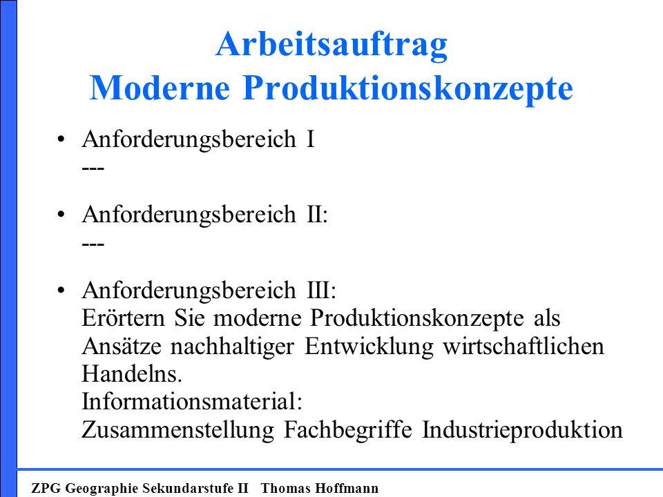 Arbeitsauftrag Moderne Produktionskonzepte Anforderungsbereich I --- Anforderungsbereich II: --- Anforderungsbereich III: Erörtern Sie moderne Produkt