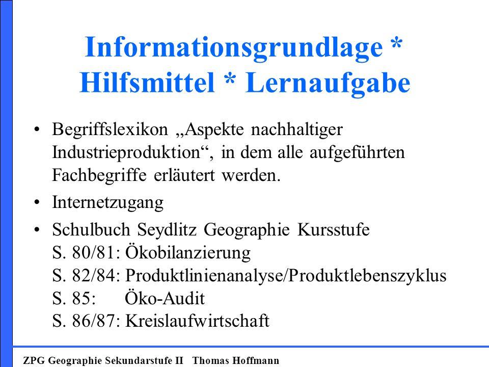 Informationsgrundlage * Hilfsmittel * Lernaufgabe Begriffslexikon Aspekte nachhaltiger Industrieproduktion, in dem alle aufgeführten Fachbegriffe erlä