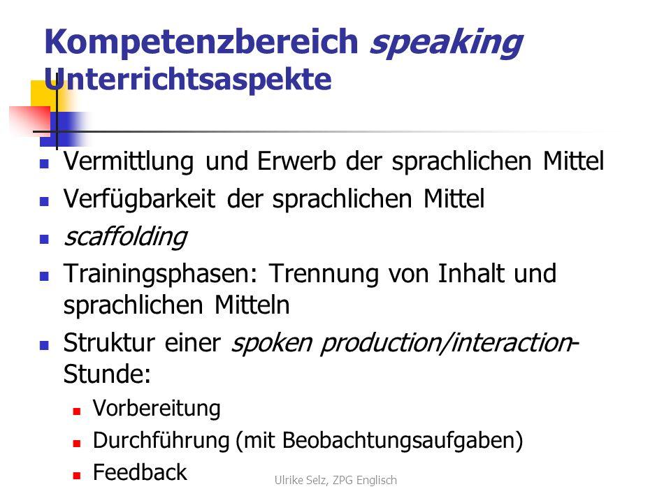 Kompetenzbereich speaking Unterrichtsaspekte Vermittlung und Erwerb der sprachlichen Mittel Verfügbarkeit der sprachlichen Mittel scaffolding Training