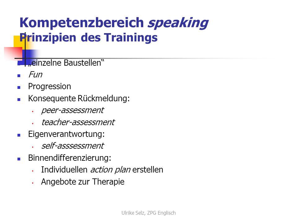 Kompetenzbereich speaking Prinzipien des Trainings einzelne Baustellen Fun Progression Konsequente Rückmeldung: peer-assessment teacher-assessment Eig