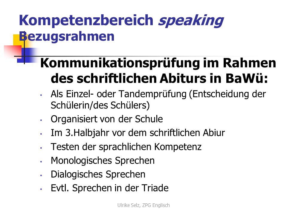 Kompetenzbereich speaking Bezugsrahmen Kommunikationsprüfung im Rahmen des schriftlichen Abiturs in BaWü: Als Einzel- oder Tandemprüfung (Entscheidung