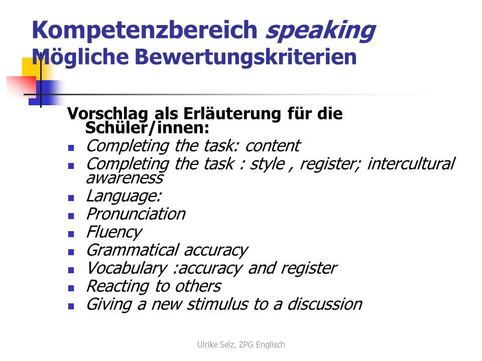 Kompetenzbereich speaking Unterscheidung Monologisches Sprechen = spoken production Summary (text, picture/cartoon, CD or film sequence) Voicing opinion Giving a presentation Giving a speech Ulrike Selz, ZPG Englisch