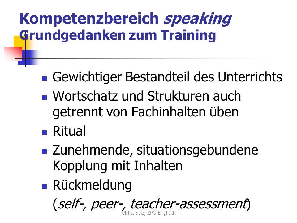Kompetenzbereich speaking Grundgedanken zum Training Gewichtiger Bestandteil des Unterrichts Wortschatz und Strukturen auch getrennt von Fachinhalten