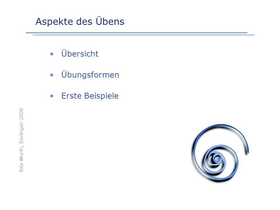 Übersicht Rita Wurth, Esslingen 2009 Üben Explizite Wiederholung Produktives, vernetzendes Üben Implizite Wiederholung Intelligentes Üben Reflektiertes Üben