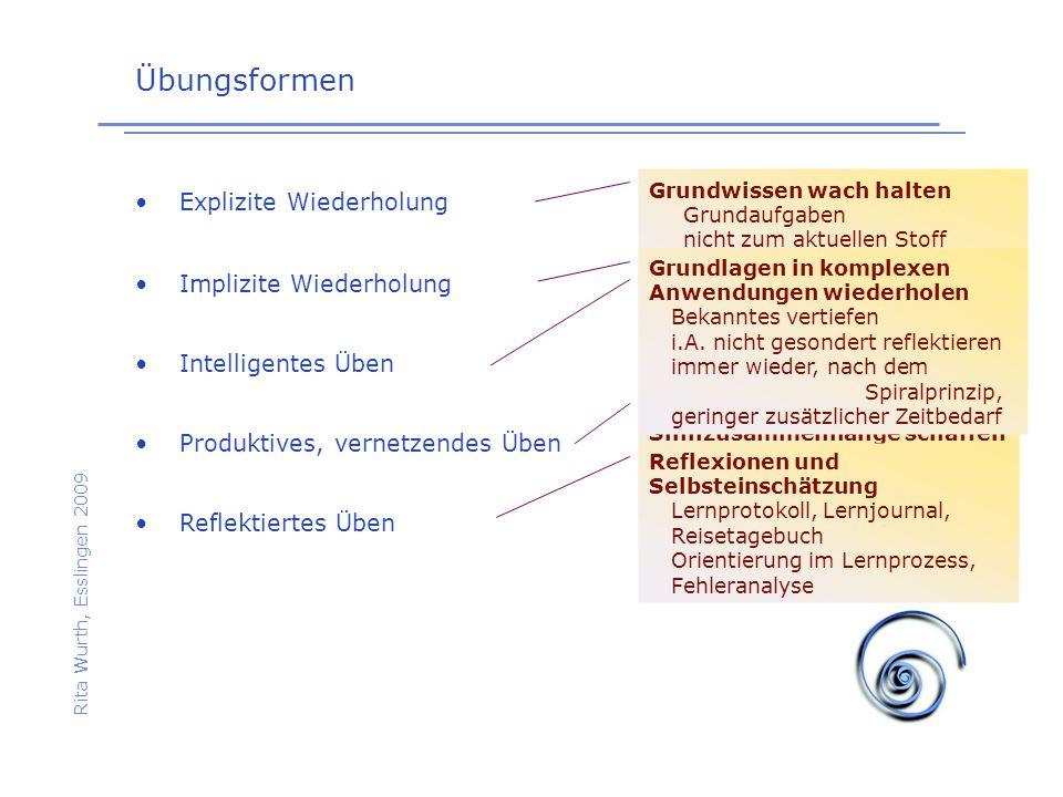 Übungsformen Rita Wurth, Esslingen 2009 Explizite Wiederholung Implizite Wiederholung Intelligentes Üben Reflektiertes Üben Produktives, vernetzendes