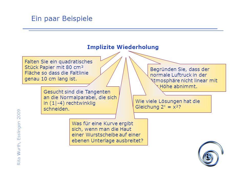Ein paar Beispiele Rita Wurth, Esslingen 2009 Implizite Wiederholung Falten Sie ein quadratisches Stück Papier mit 80 cm² Fläche so dass die Faltlinie