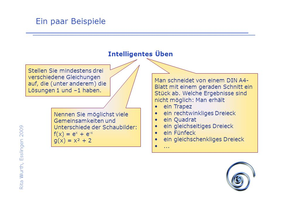 Ein paar Beispiele Rita Wurth, Esslingen 2009 Intelligentes Üben Stellen Sie mindestens drei verschiedene Gleichungen auf, die (unter anderem) die Lös