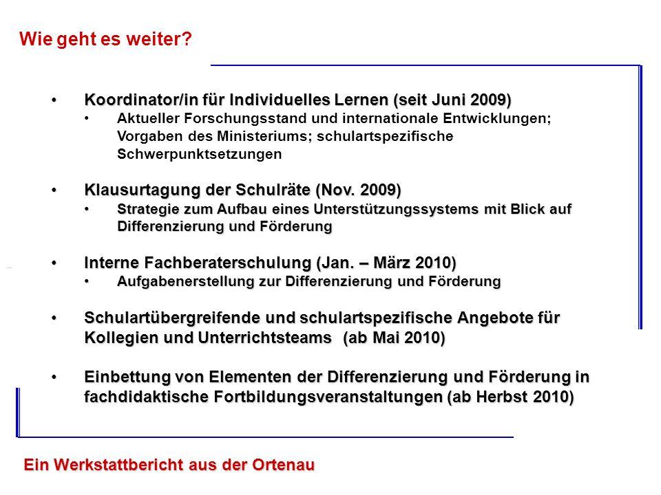 Ein Werkstattbericht aus der Ortenau Wie geht es weiter? Koordinator/in für Individuelles Lernen (seit Juni 2009)Koordinator/in für Individuelles Lern