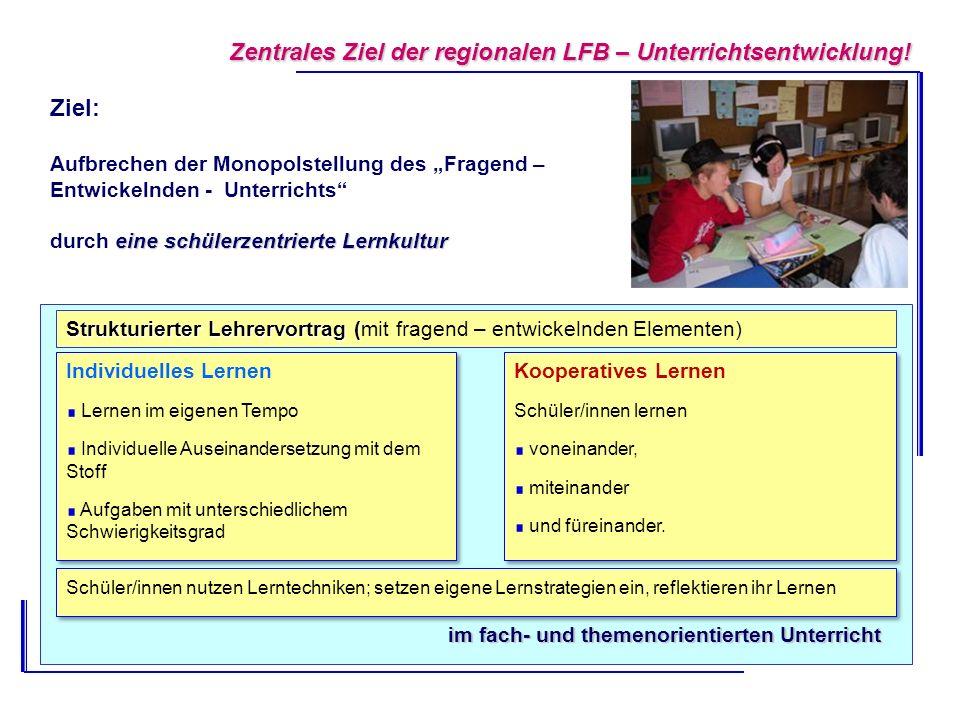 Zentrales Ziel der regionalen LFB – Unterrichtsentwicklung! Ziel: Aufbrechen der Monopolstellung des Fragend – Entwickelnden - Unterrichts eine schüle