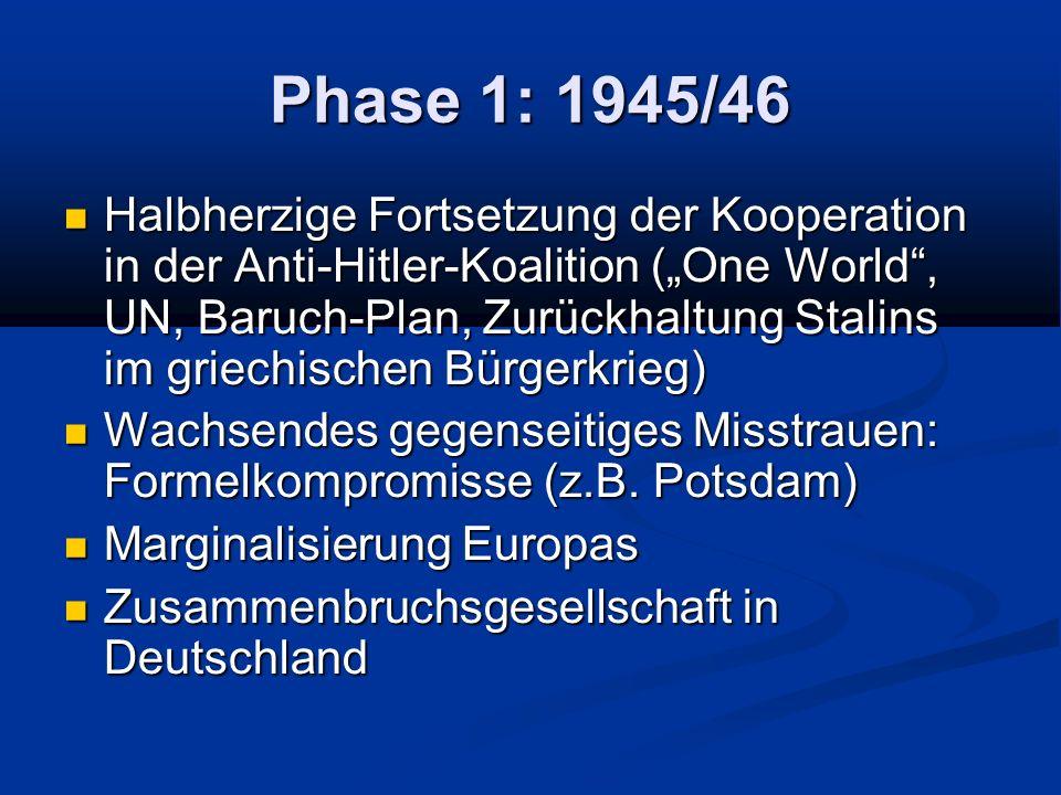 Phase 1: 1945/46 Halbherzige Fortsetzung der Kooperation in der Anti-Hitler-Koalition (One World, UN, Baruch-Plan, Zurückhaltung Stalins im griechischen Bürgerkrieg) Halbherzige Fortsetzung der Kooperation in der Anti-Hitler-Koalition (One World, UN, Baruch-Plan, Zurückhaltung Stalins im griechischen Bürgerkrieg) Wachsendes gegenseitiges Misstrauen: Formelkompromisse (z.B.