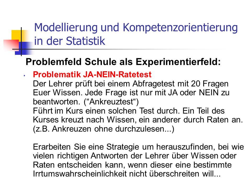 Problemfeld Schule als Experimentierfeld: Modellierung und Kompetenzorientierung in der Statistik Problematik JA-NEIN-Ratetest Der Lehrer prüft bei ei