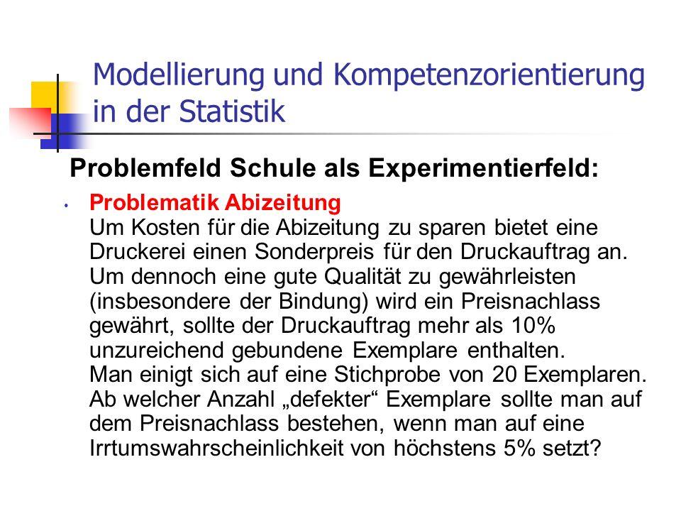 Problemfeld Schule als Experimentierfeld: Modellierung und Kompetenzorientierung in der Statistik Problematik Abizeitung Um Kosten für die Abizeitung