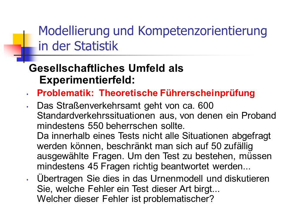 Gesellschaftliches Umfeld als Experimentierfeld: Modellierung und Kompetenzorientierung in der Statistik Problematik: Theoretische Führerscheinprüfung
