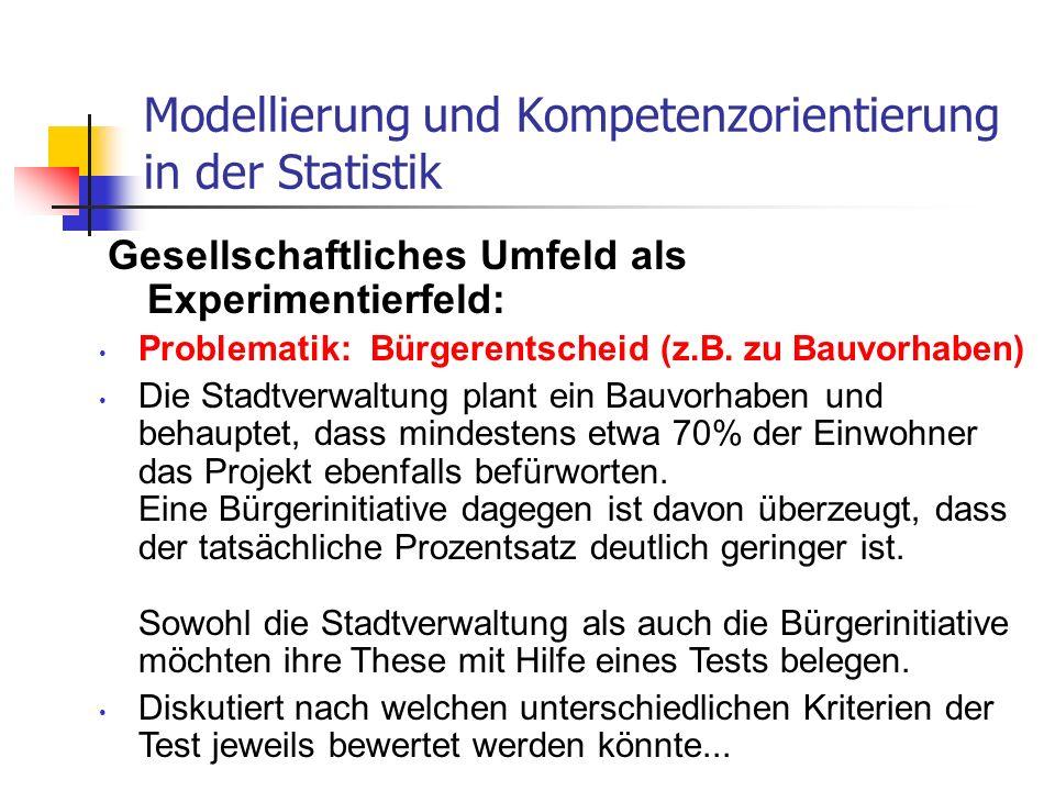 Gesellschaftliches Umfeld als Experimentierfeld: Modellierung und Kompetenzorientierung in der Statistik Problematik: Bürgerentscheid (z.B. zu Bauvorh