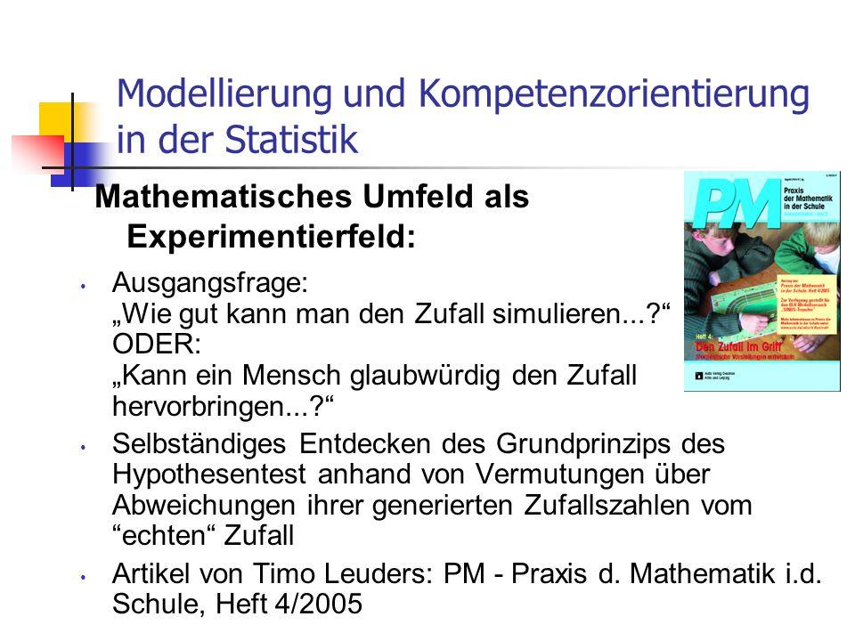 Modellierung und Kompetenzorientierung in der Statistik Ausgangsfrage: Wie gut kann man den Zufall simulieren...? ODER: Kann ein Mensch glaubwürdig de