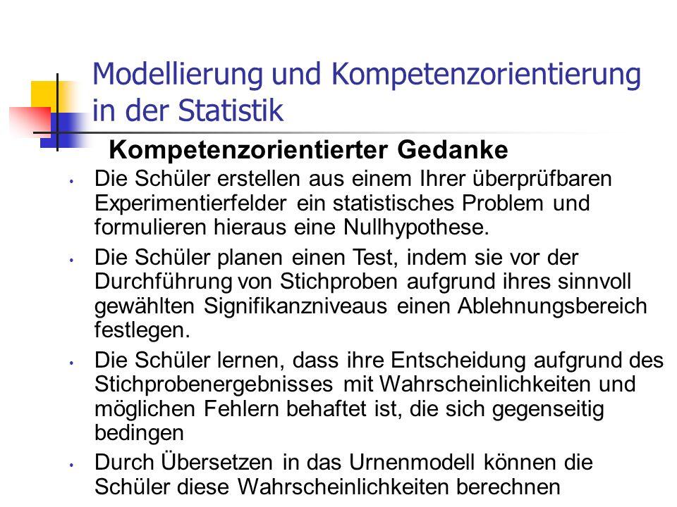 Modellierung und Kompetenzorientierung in der Statistik Kompetenzorientierter Gedanke Die Schüler erstellen aus einem Ihrer überprüfbaren Experimentie