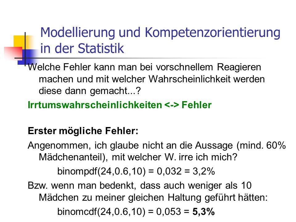 Modellierung und Kompetenzorientierung in der Statistik Zweiter mögliche Fehler: Angenommen, die Aussage (mind.