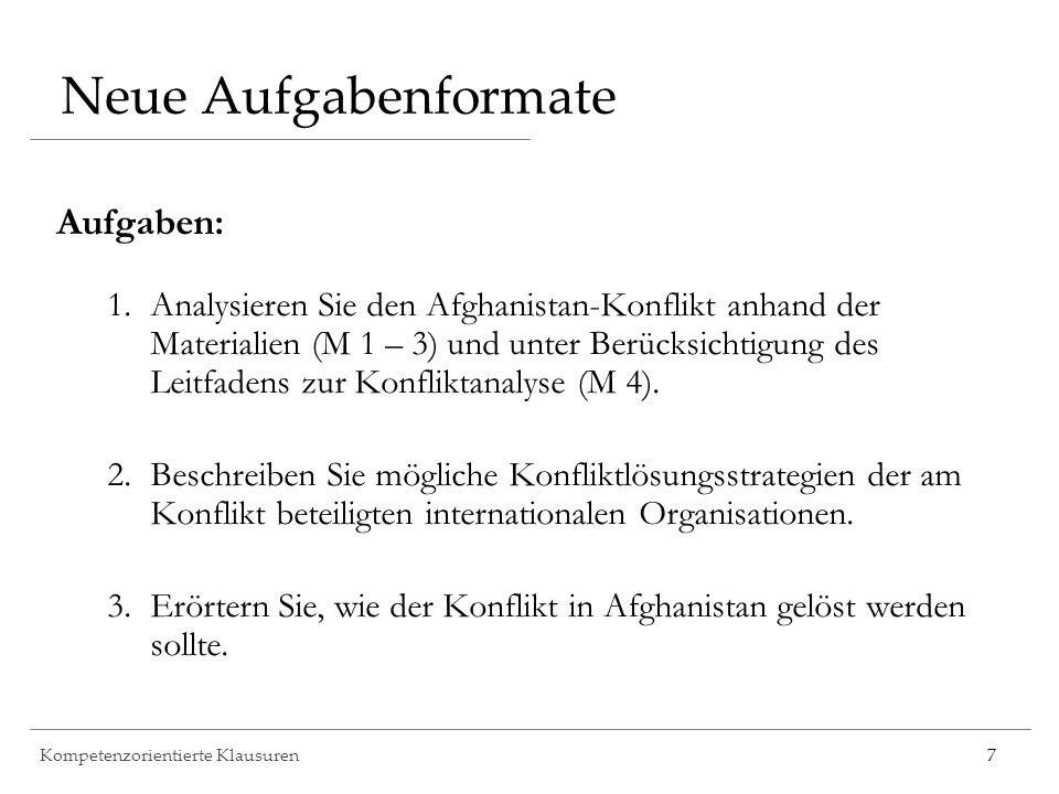 Kompetenzorientierte Klausuren7 Neue Aufgabenformate Aufgaben: 1.Analysieren Sie den Afghanistan-Konflikt anhand der Materialien (M 1 – 3) und unter B