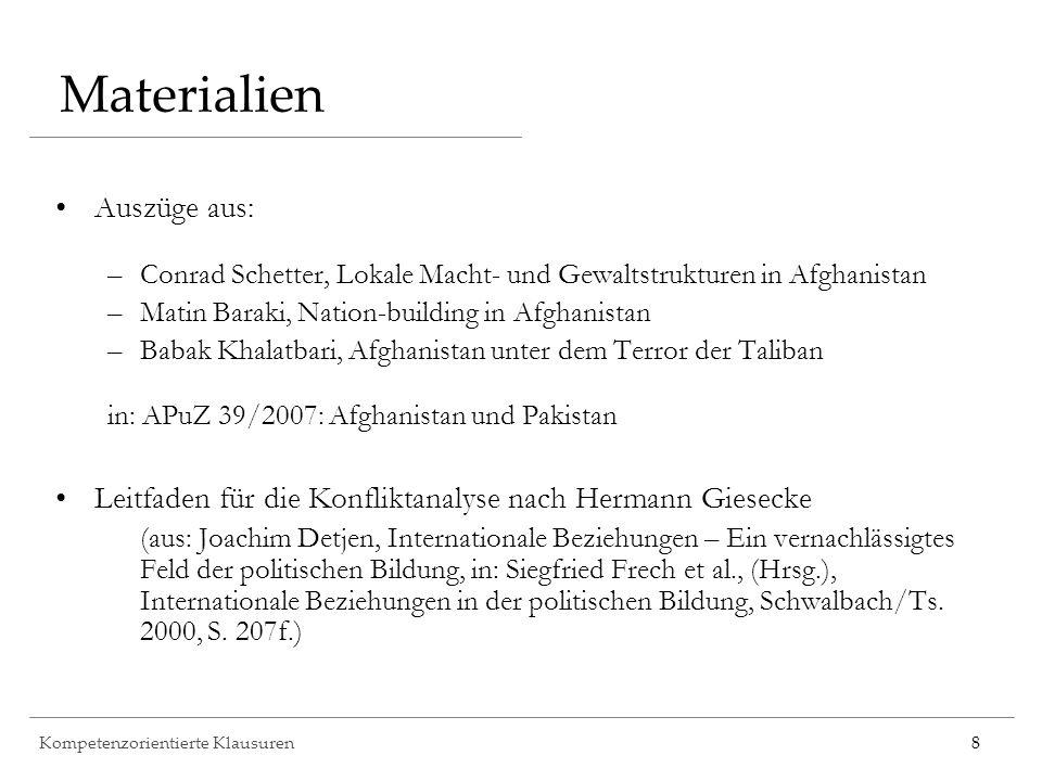 Kompetenzorientierte Klausuren8 Materialien Auszüge aus: –Conrad Schetter, Lokale Macht- und Gewaltstrukturen in Afghanistan –Matin Baraki, Nation-bui
